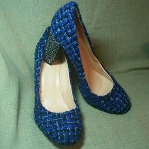 """J.Crew """"Etta"""" blue tweed pumps glitter heel sz 12"""